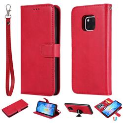 Retro Greek Detachable Magnetic PU Leather Wallet Phone Case for Huawei Mate 20 Pro - Red