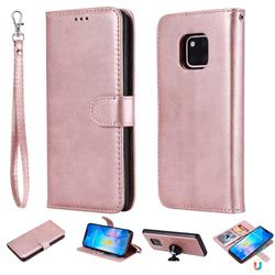 Retro Greek Detachable Magnetic PU Leather Wallet Phone Case for Huawei Mate 20 Pro - Rose Gold
