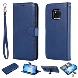 Retro Greek Detachable Magnetic PU Leather Wallet Phone Case for Huawei Mate 20 Pro - Blue