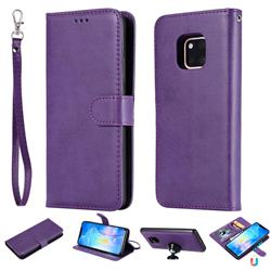 Retro Greek Detachable Magnetic PU Leather Wallet Phone Case for Huawei Mate 20 Pro - Purple