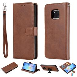 Retro Greek Detachable Magnetic PU Leather Wallet Phone Case for Huawei Mate 20 Pro - Brown