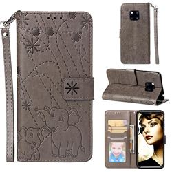Embossing Fireworks Elephant Leather Wallet Case for Huawei Mate 20 Pro - Gray