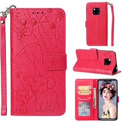 Embossing Fireworks Elephant Leather Wallet Case for Huawei Mate 20 Pro - Red