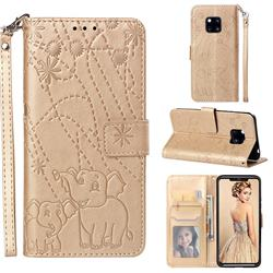 Embossing Fireworks Elephant Leather Wallet Case for Huawei Mate 20 Pro - Golden