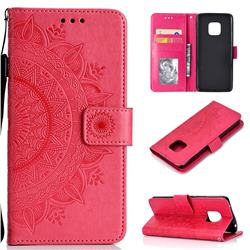Intricate Embossing Datura Leather Wallet Case for Huawei Mate 20 Pro - Rose Red