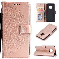 Intricate Embossing Datura Leather Wallet Case for Huawei Mate 20 Pro - Rose Gold