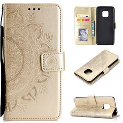 Intricate Embossing Datura Leather Wallet Case for Huawei Mate 20 Pro - Golden