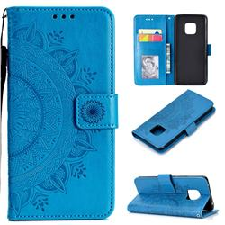 Intricate Embossing Datura Leather Wallet Case for Huawei Mate 20 Pro - Blue
