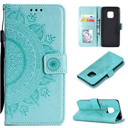 Intricate Embossing Datura Leather Wallet Case for Huawei Mate 20 Pro - Mint Green