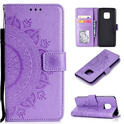Intricate Embossing Datura Leather Wallet Case for Huawei Mate 20 Pro - Purple