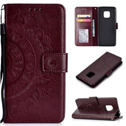 Intricate Embossing Datura Leather Wallet Case for Huawei Mate 20 Pro - Brown