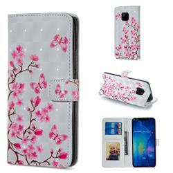 Butterfly Sakura Flower 3D Painted Leather Phone Wallet Case for Huawei Mate 20 Pro