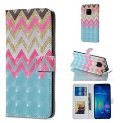 Color Wave 3D Painted Leather Phone Wallet Case for Huawei Mate 20 Pro