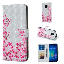 Cherry Blossom 3D Painted Leather Phone Wallet Case for Huawei Mate 20 Pro