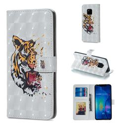 Toothed Tiger 3D Painted Leather Phone Wallet Case for Huawei Mate 20 Pro