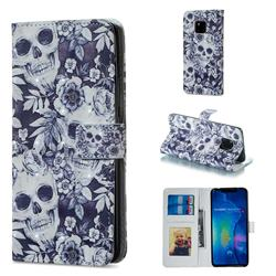 Skull Flower 3D Painted Leather Phone Wallet Case for Huawei Mate 20 Pro