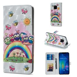 Rainbow Owl Family 3D Painted Leather Phone Wallet Case for Huawei Mate 20 Pro