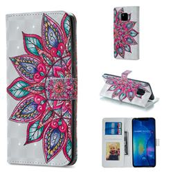 Mandara Flower 3D Painted Leather Phone Wallet Case for Huawei Mate 20 Pro