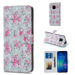Roses Flower 3D Painted Leather Phone Wallet Case for Huawei Mate 20 Pro
