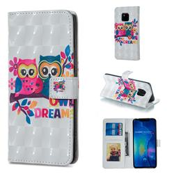 Couple Owl 3D Painted Leather Phone Wallet Case for Huawei Mate 20 Pro