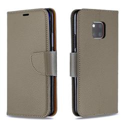 Classic Luxury Litchi Leather Phone Wallet Case for Huawei Mate 20 Pro - Gray