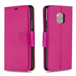 Classic Luxury Litchi Leather Phone Wallet Case for Huawei Mate 20 Pro - Rose