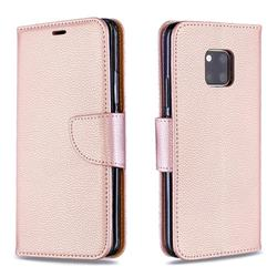 Classic Luxury Litchi Leather Phone Wallet Case for Huawei Mate 20 Pro - Golden