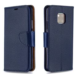 Classic Luxury Litchi Leather Phone Wallet Case for Huawei Mate 20 Pro - Blue