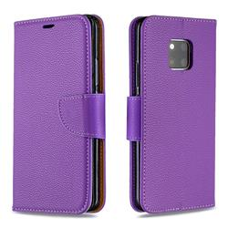 Classic Luxury Litchi Leather Phone Wallet Case for Huawei Mate 20 Pro - Purple