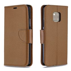 Classic Luxury Litchi Leather Phone Wallet Case for Huawei Mate 20 Pro - Brown
