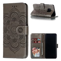 Intricate Embossing Datura Solar Leather Wallet Case for Huawei Mate 20 Pro - Gray