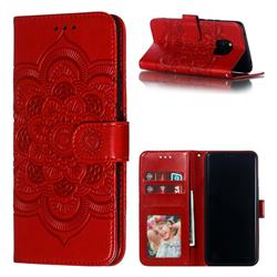 Intricate Embossing Datura Solar Leather Wallet Case for Huawei Mate 20 Pro - Red