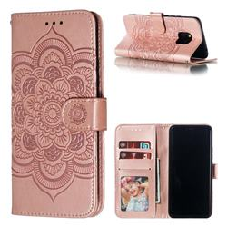 Intricate Embossing Datura Solar Leather Wallet Case for Huawei Mate 20 Pro - Rose Gold