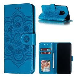 Intricate Embossing Datura Solar Leather Wallet Case for Huawei Mate 20 Pro - Blue