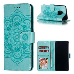 Intricate Embossing Datura Solar Leather Wallet Case for Huawei Mate 20 Pro - Green