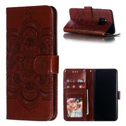 Intricate Embossing Datura Solar Leather Wallet Case for Huawei Mate 20 Pro - Brown