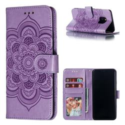 Intricate Embossing Datura Solar Leather Wallet Case for Huawei Mate 20 Pro - Purple