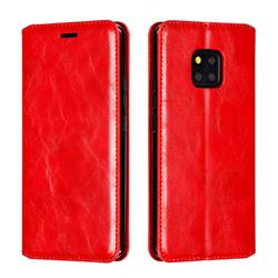 Retro Slim Magnetic Crazy Horse PU Leather Wallet Case for Huawei Mate 20 Pro - Red