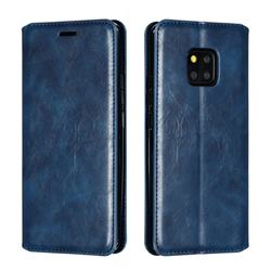 Retro Slim Magnetic Crazy Horse PU Leather Wallet Case for Huawei Mate 20 Pro - Blue