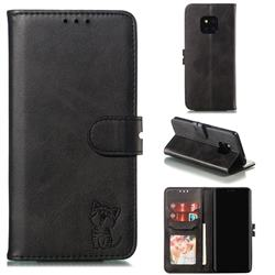 Embossing Happy Cat Leather Wallet Case for Huawei Mate 20 Pro - Black