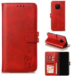 Embossing Happy Cat Leather Wallet Case for Huawei Mate 20 Pro - Red