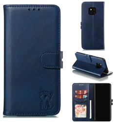 Embossing Happy Cat Leather Wallet Case for Huawei Mate 20 Pro - Blue