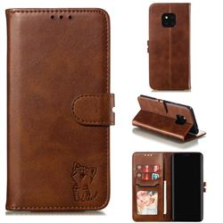 Embossing Happy Cat Leather Wallet Case for Huawei Mate 20 Pro - Brown