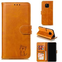 Embossing Happy Cat Leather Wallet Case for Huawei Mate 20 Pro - Yellow