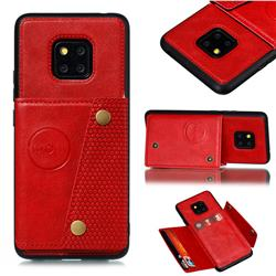 Retro Multifunction Card Slots Stand Leather Coated Phone Back Cover for Huawei Mate 20 Pro - Red