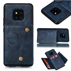 Retro Multifunction Card Slots Stand Leather Coated Phone Back Cover for Huawei Mate 20 Pro - Blue