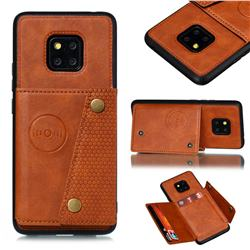 Retro Multifunction Card Slots Stand Leather Coated Phone Back Cover for Huawei Mate 20 Pro - Brown