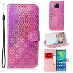 Laser Circle Shining Leather Wallet Phone Case for Huawei Mate 20 Pro - Pink