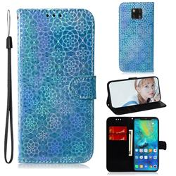 Laser Circle Shining Leather Wallet Phone Case for Huawei Mate 20 Pro - Blue