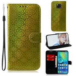 Laser Circle Shining Leather Wallet Phone Case for Huawei Mate 20 Pro - Golden